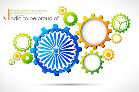 agosto: illustrazione di ruota dentata a Indian tricolore con Chakra Ashok