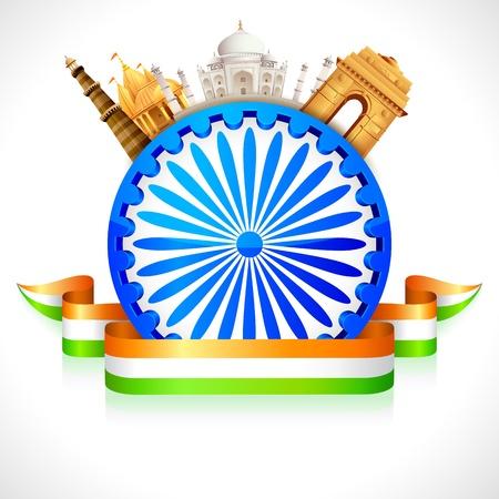 インド: インドの文化を示すアショカ ホイールの周りの記念碑のイラスト