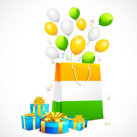 aug: illustration of gift box with shopping bag for Indian flag tricolor Illustration