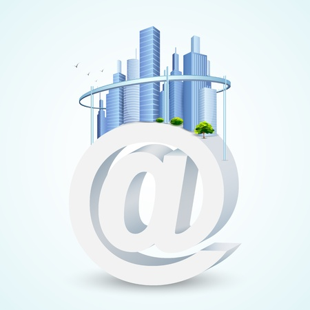 illustration of virtual city with building on mail symbol Stock Vector - 17062318