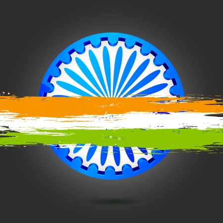 illustration of Ashok Chakra with grungy band of Indian flag tricolor Stock Vector - 17366330