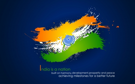 illustration of grungy band of Indian flag tricolor Vector
