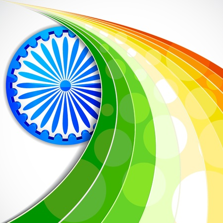 india culture: illustration of wave of Indian flag tricolor with Ashok Chakra
