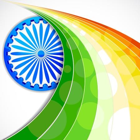 ashok: illustration of wave of Indian flag tricolor with Ashok Chakra