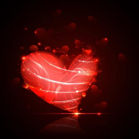 truelove: illustration of shiny Valentine heart on abstract background Illustration