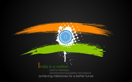 ashok: illustration of grungy band of Indian flag tricolor