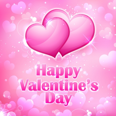 illustration of shiny Valentine heart on abstract background Vector