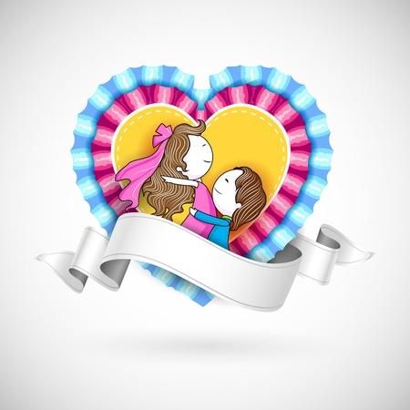 truelove: illustrazione di amare la coppia in stile retr� cuore di pizzo