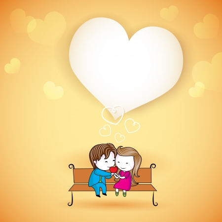 illustration of happy loving couple on love background Vector
