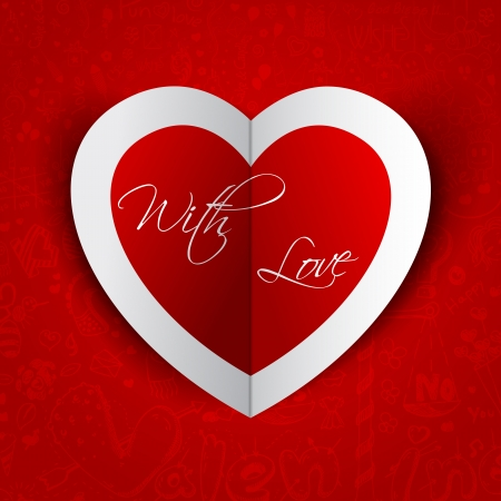 illustration of sticker in shape of heart in love background Vector