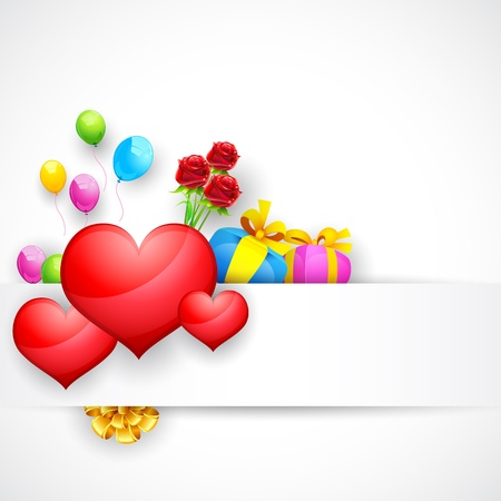 illustration of love background with heart and balloon Vector