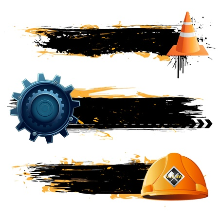 illustration of under construction banner with hard hat and cone Vector