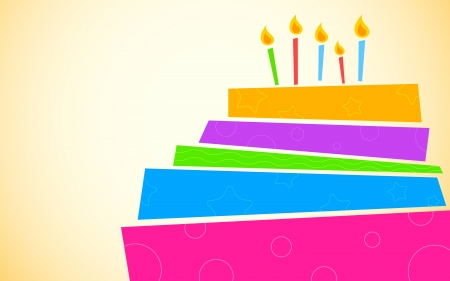 illustration of colorful birthday cake with pattern Vector