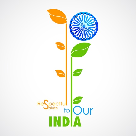 ashok: illustration of plant in Indian flag tricolor with Ashok Chakra