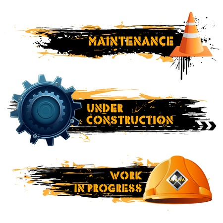 under construction: illustration of under construction banner with hard hat and cone