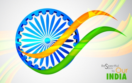 illustration of wave of Indian flag tricolor with Ashok Chakra Vector