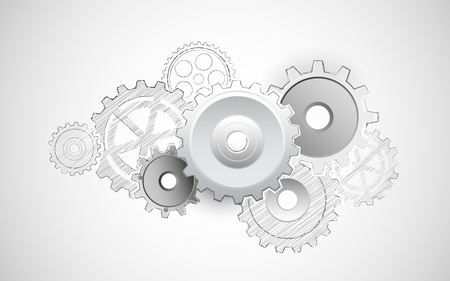 engineering drawing: illustration of interlocking cogwheel on sketchy background