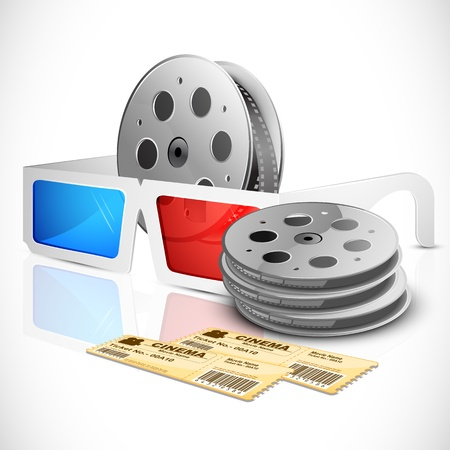 cinematic: illustration of pair of movie ticket with 3d glasses and film reel