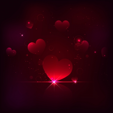 illustration of shiny heart on love background Stock Vector - 17376458