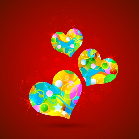 illustration of colorful heart on abstract background illustration
