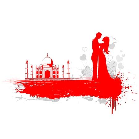 illustration of loving couple in Taj Mahal Illustration