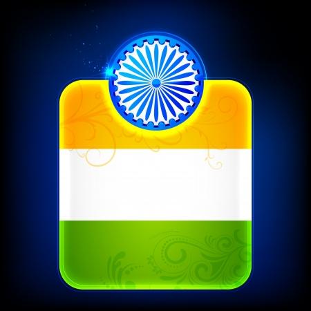 ashoka: illustration of shiny Indian Flag template with Ashoka Chakra Illustration