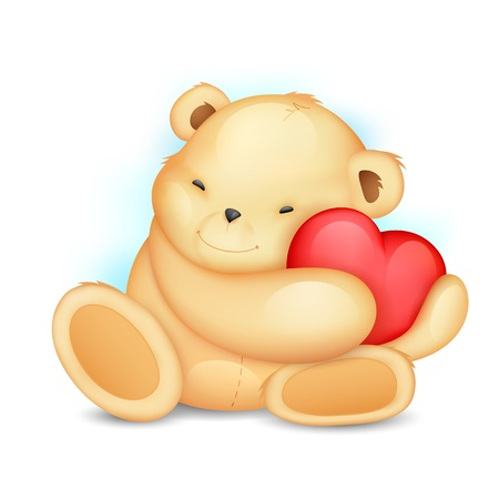 illustration of cute teddy bear holding heart Vector
