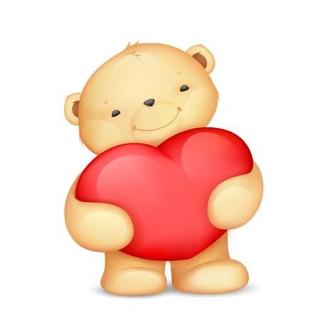 teddy bear love: illustration of cute teddy bear holding heart