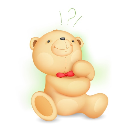 illustration of cute thinking teddy bear with question mark Vector