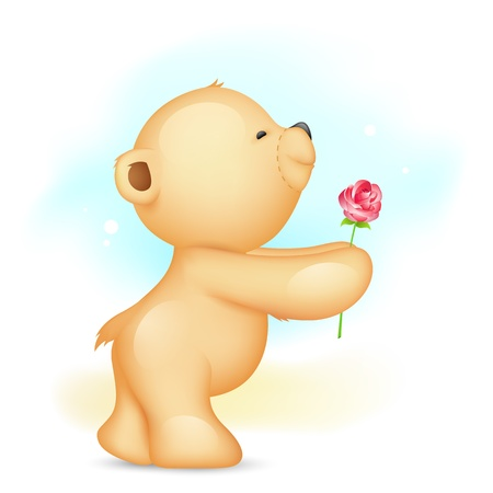 illustration of teddy bear holding rose in proposing pose Illustration