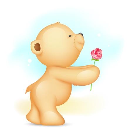 enamorados caricatura: ilustraci�n del oso de peluche rosa en la propuesta de celebraci�n pose