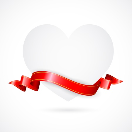 illustration of paper heart with ribbon on love background Stock Vector - 17376409