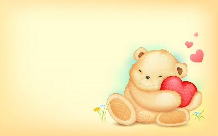 stuffed animals: illustration of cute teddy bear hugging heart on love background