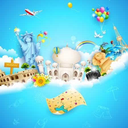 air travel: illustrazione di vacanza sfondo con oggetto di viaggio con il famoso monumento nuvola