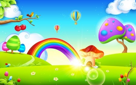 rainbow scene: illustration of mushroom homes in spring season