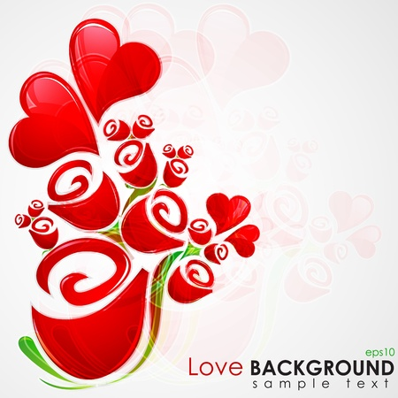 illustration of bunch of rose with heart on love background Vector