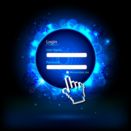 illustration of login page with hand cursor on technology background illustration