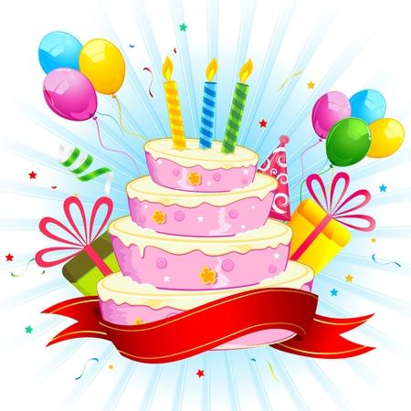 tortas cumpleaÑos: ilustración de la torta de cumpleaños con un racimo de globos de colores y caja de regalo Vectores