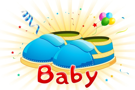 babyhood: illustration of baby shoes with balloons on abstract background