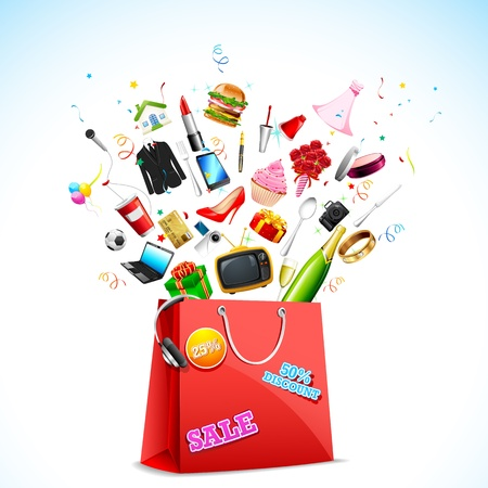 gift bags: illustration of product coming out of carry bag showing sale festival