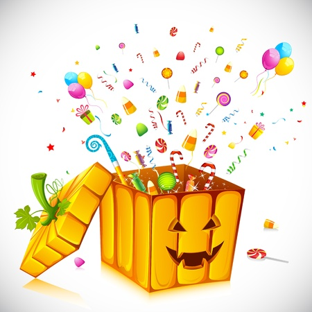 out of a box: illustration of candies poping out from pumpkin shape gift box for halloween Illustration