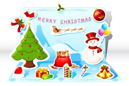pop up: illustratie van pop-up kerstkaart met sneeuw man en vliegen santa