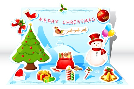illustration of pop up christmas card with snow man and flying santa Vector