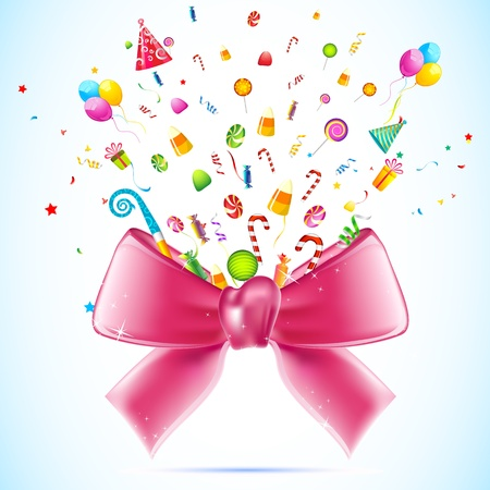 jellybean: illustration of blasting candy and gift from ribbon bow Illustration