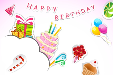illustration of birthday card made of paper cut with cake and gift box Vector