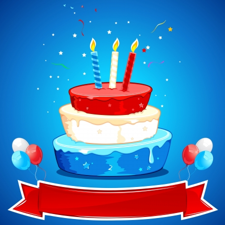illustration of cake in american color and star Vector