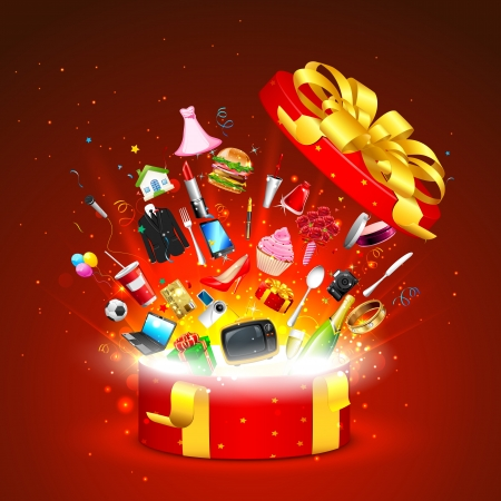 illustration of sale product popping out of gift box Stock Vector - 17441464