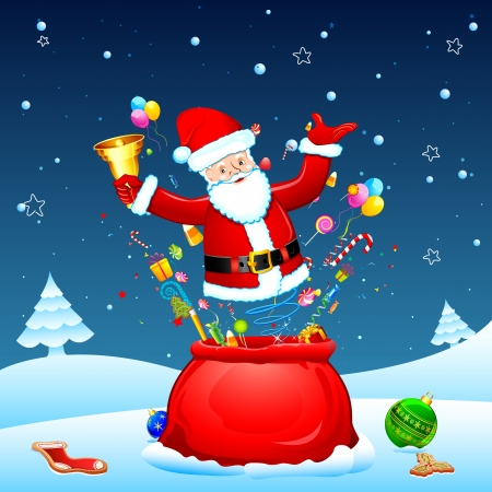 illustration of santa poping out from sack with goodies Stock Vector - 17441497