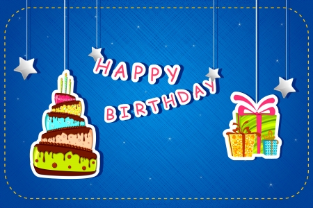 illustration of happy birthday card with cake and gift hanging Vector