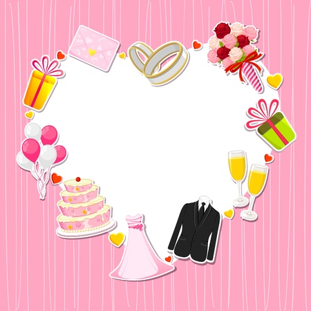 약혼녀: 심장 모양 카드 주위 결혼 아이콘의 그림